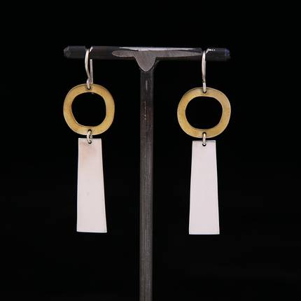 Rooby Brass and Silver Earrings - OUT OF STOCK