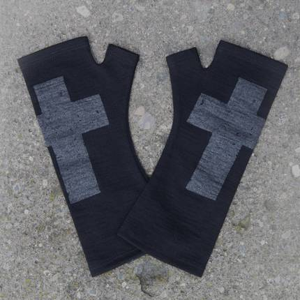 Kate Watts - Black Fingerless Merino Gloves with Silver Printed Cross