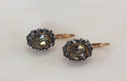 Fume Crystal Oval Earrings
