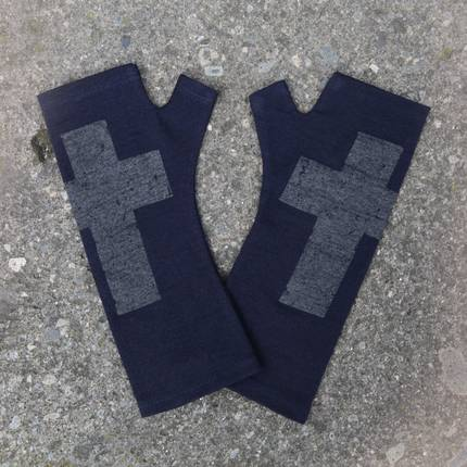 Kate Watts - Navy Fingerless Merino Gloves with Silver Printed Cross