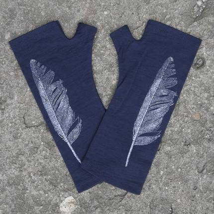 Kate Watts - Navy Fingerless Merino Gloves with Silver Printed Feather