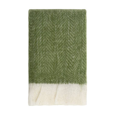 Bliss Mohair Blend Herringbone Throw - Kale