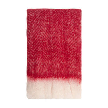 Bliss Mohair Blend Herringbone Throw - Chilli Pepper