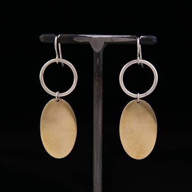 Ooby Brass and Silver Earrings - OUT OF STOCK