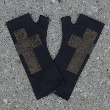 Kate Watts - Black Fingerless Merino Gloves with Bronze Printed Cross