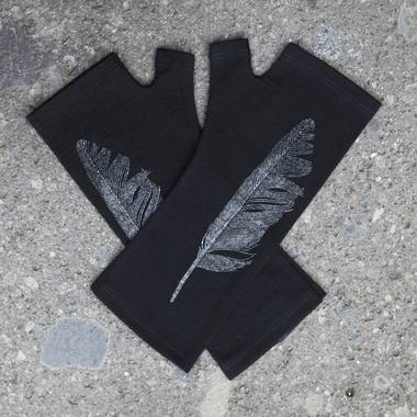Kate Watts - Black Fingerless Merino Gloves with Silver Printed Feather