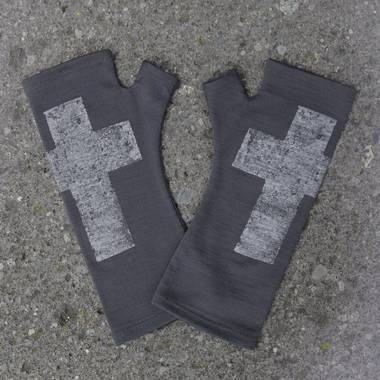 Kate Watts - Charcoal Fingerless Merino Gloves with Silver Printed Cross