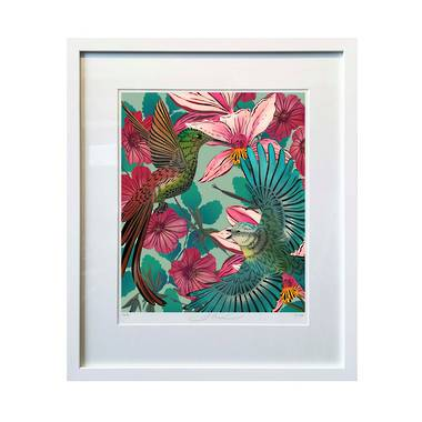Flox Limited Edition Heavenly Hummingbirds Large Framed Print