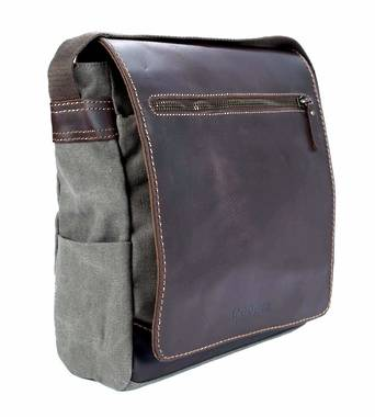Endeavour Leather and Canvas Body Bag - Black