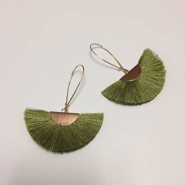 Twigg Tassel Earrings - Green