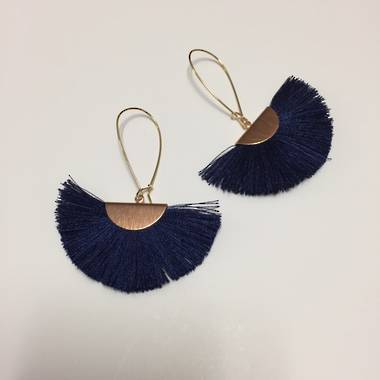 Twigg Tassel Earrings - Navy