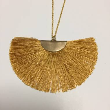 Twigg Fan Tassel Necklace - Mustard