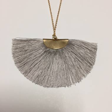 Twigg Fan Tassel Necklace - Grey