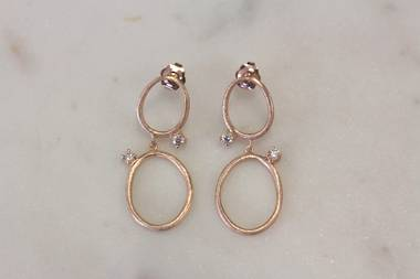 Rose Gold and Crystal Earrings