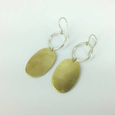 Ooby Brass and Silver Earrings