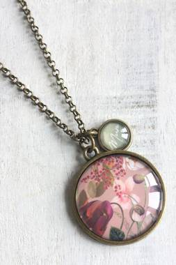 Botanical 'Mum' Necklace - Pink - OUT OF STOCK