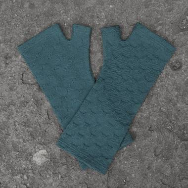 Kate Watts - Teal Textured Cross Knitted Fingerless Merino Gloves