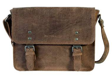 Apache Small Leather Satchel Bag - Brown
